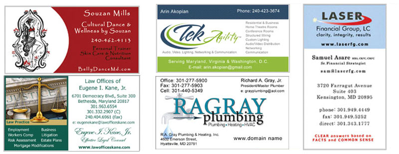 business cards designed Montgomery Co MD